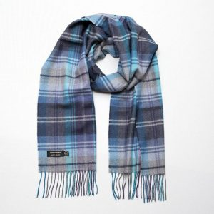 John Hanly Blue Check Merino Scarf