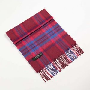 John Hanly Red Check Merino Scarf