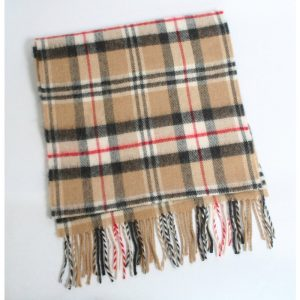 John Hanly Brown Check Merino Scarf