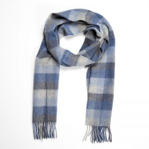 John Hanly Blue Gray Check Scarf