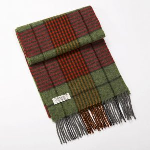 John Hanly Red Green Check Scarf
