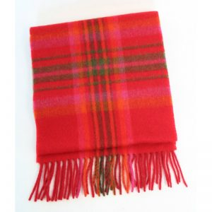 John Hanly Red Check Scarf