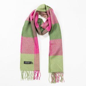 John Hanly Pink Green Block Merino Scarf