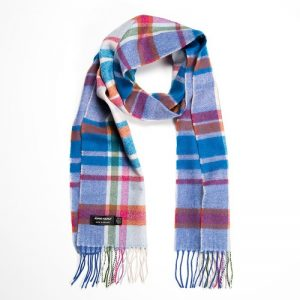 John Hanly White Pink Turquoise Check Scarf