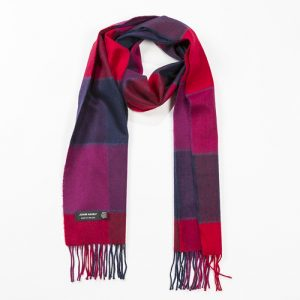 John Hanly Red Pink and Navy Block Check Scarf