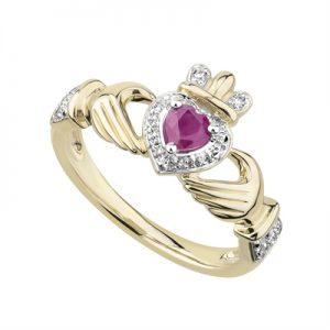 Solvar 14K Ruby & Diamond Claddagh Ring s21094