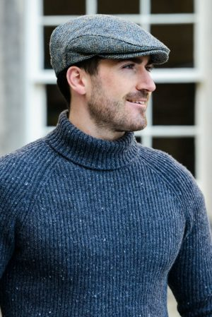 Mucros Grey Trinity Tweed Flat Cap