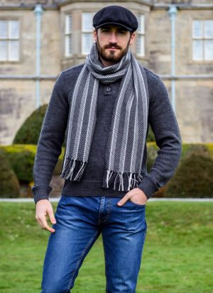 Mucros Merino Wool Dingle Scarf Charcoal Stripe