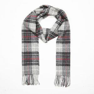 John Hanly Black Grey Red Check Scarf