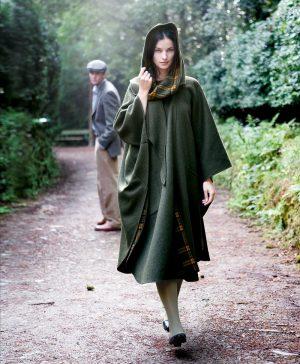 Jimmy Hourihan Moss Green Wool Walking Cape