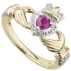 Solvar 14K Ruby & Diamond Claddagh Ring
