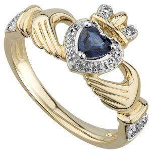 Solvar 14K Sapphire & Diamond Claddagh Ring