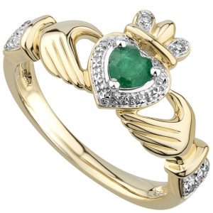 Solvar 14K Emerald & Diamond Claddagh Ring