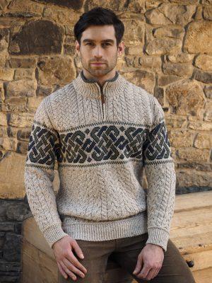 Aran Crafts Celtic Irish Jacquard Half Zip Sweater