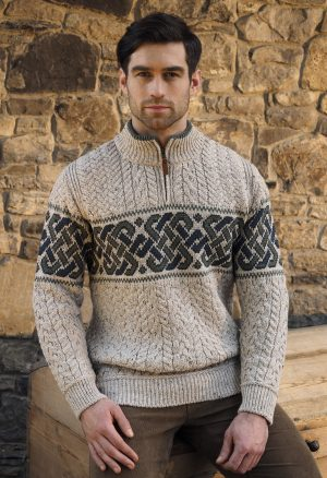 Aran Crafts Celtic Irish Jacquard Half Zip Sweater