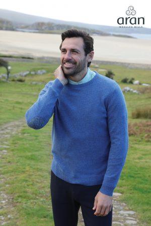 Aran Merino Wool Blue Crew Neck Sweater