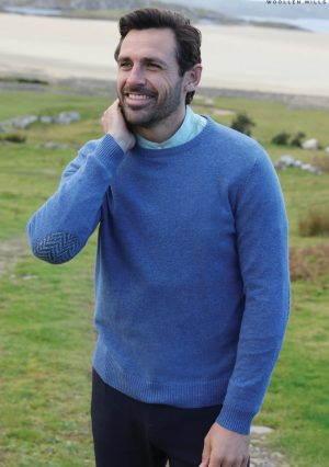 Aran Merino Wool Blue Crew Neck Sweater