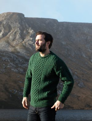 100% Wool Green Aran Sweater
