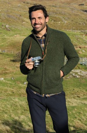 Mens Green Aran Wool Cardigan