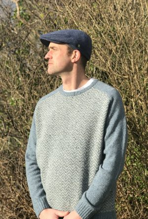 Aran Herringbone Crew Neck Sweater