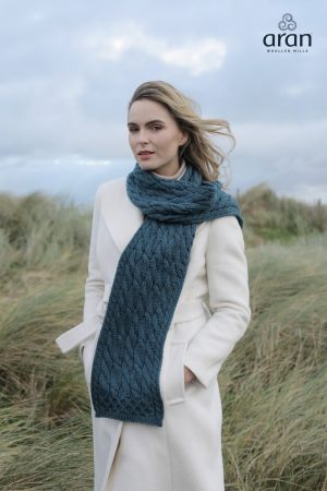 Sea Green Merino Wool Aran Scarf
