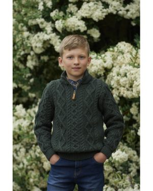 Boys Half Zip Green Aran Sweater