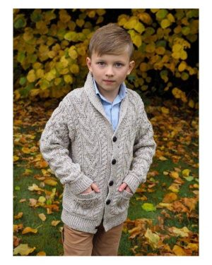 Boys Shawl Collar Aran Cardigan