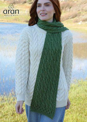 Green Merino Wool Aran Scarf