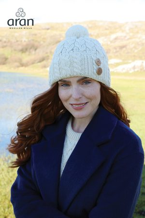 Aran Natural Wool Hat - b547 367