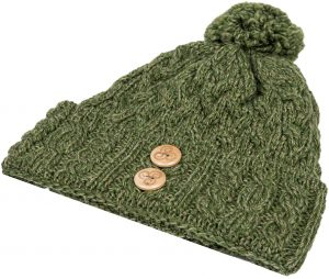 Aran Green Wool Hat
