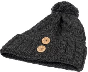 Aran Charcoal Wool Hat