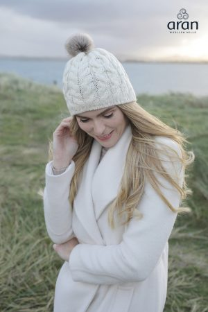Aran Natural Wool Beanie Hat