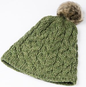 Aran Green Wool Beanie Hat