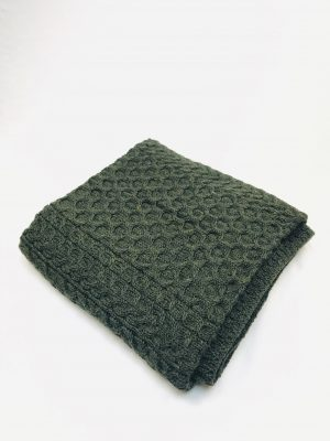 Aran Green Honeycomb Blanket Throw