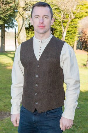 Brown Tweed Herringbone Irish Waistcoat