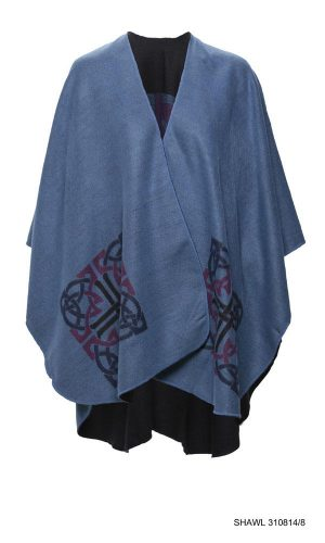 Jimmy Hourihan Shawl in Blue with Celtic Motif