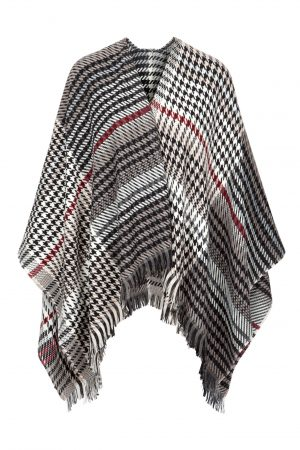 Jimmy Hourihan Fringed Shawl in White/Grey/Cherry Plaid