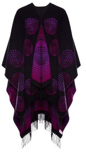 Jimmy Hourihan Fringed Shawl with Celtic Spiral Motif