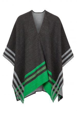 Jimmy Hourihan Shawl in Charcoal/Kelly Green
