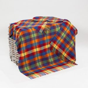 John Hanly Multi Colour Lambswool Blanket