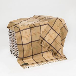 John Hanly Brown Check Lambswool Throw Blanket