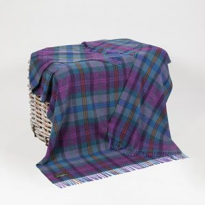 John Hanly Purple Check Lambswool Throw Blanket