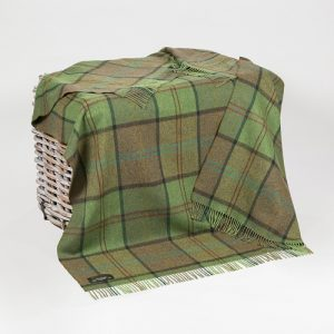 John Hanly Green Check Lambswool Throw Blanket