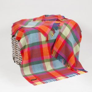 John Hanly Multi Color Check Cashmere Throw
