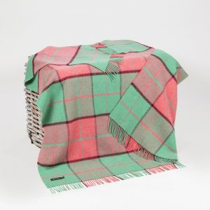 John Hanly Pink Green Merino Cashmere Throw