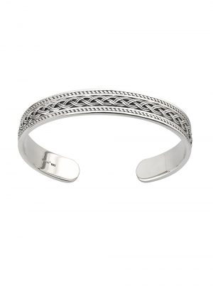 Solvar Gents Sterling Silver Celtic Knot Torc Cuff Bangle