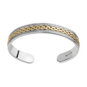 Solvar Sterling Silver Gold Celtic Knot Torc Cuff Bangle