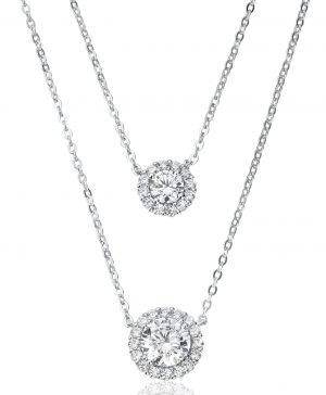 Waterford Crystal Silver Double Row Necklace WP262