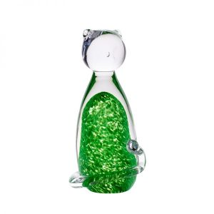 Irish Shamrock Glass Cat