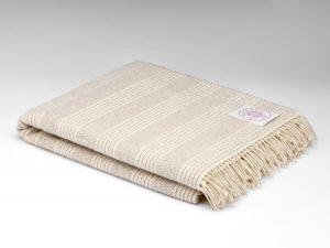McNutt White Natural Stripe Alpaca Blanket Throw